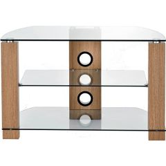 Pps Distribution Ltd. AVS-L630--800/3-OC Vision 1050 Light Oak And Clear Glass TV Stand