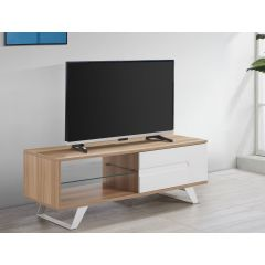 Pps Distribution Ltd. MIA-1050-OAK Miami TV Cabinet Stand With Cupboard For Up To 50` Tvs - Oak